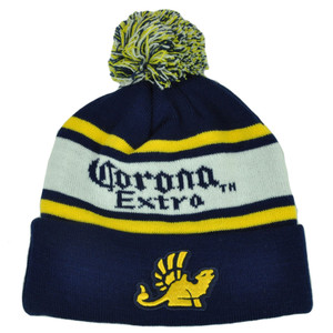 Corona Extra Pom Pom Cuffed Knit Beanie Toque Skully Striped Beer Hat Alcohol