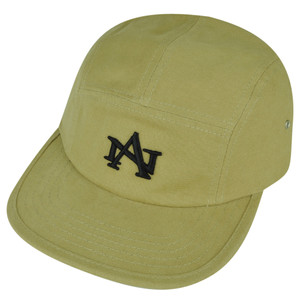 American Needle Logo Clip Buckle Hat Cap Khaki Relaxed Brand Flat Bill Adjustable