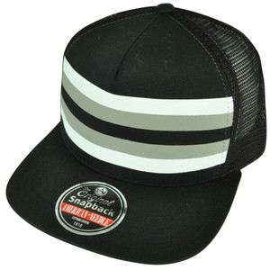 American Needle Blank Solid Black Mesh Back Striped Snapback Flat Bill Hat Cap