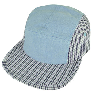 American Needle Blank Blue Denim Pink Plaid Womens Snap Buckle Flat Bill Hat Cap