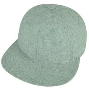 American Needle Blank Solid Gray Leather Belt Buckle Felt Flat Bill Wool Hat Cap