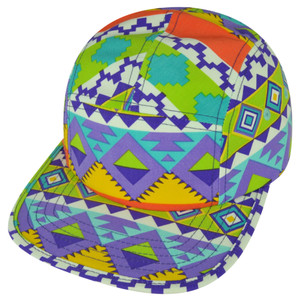 American Needle Blank Aztec Pattern Colorful Flat Bill Clip Buckle Relax Hat Cap
