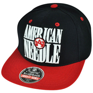 American Needle Navy Blue Red Original Snapback Hat Cap 1918 Flat Bill Brand