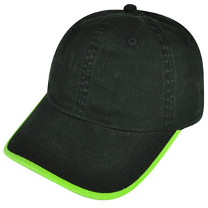American Needle Blank Black Green Relaxed Fit Sun Buckle Curved Bill Hat Cap