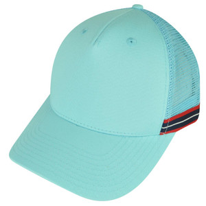 American Needle Green Sky Blue Striped Mesh Back Snapback Curved Bill Hat Cap