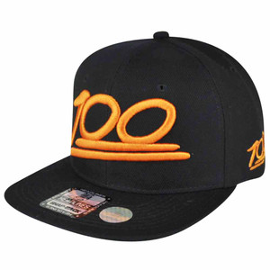 100 One Hundred Emoji Emoticons Text Symbol Snapback Hat Cap Flat Bill Orange