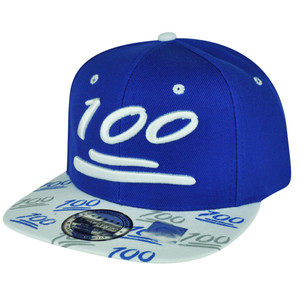 100 One Hundred Snapback Hat Cap Emoji Text Symbol Emoticons Blue White Flat Bill