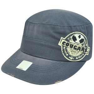 NCAA Brigham Young Cougars Fatigue Velcro Distressed Curved Bill Navy Hat Cap