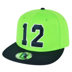 Action Green Navy Blue 12 Player Flat Bill Snapback Hat Cap Seattle Fan 2Tone