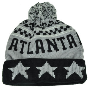 Atlanta Pom Pom Cuffed Three Stars Gray Black City State Town Beanie Knit Georgia