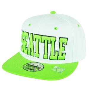 Seattle Washington White Two Toned Snapback Green Flat Bill Hat Cap State City