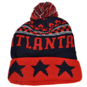 Atlanta Pom Pom Cuffed Three Stars Red Navy City State Town Beanie Knit Georgia