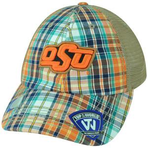 NCAA Oklahoma State Cowboys Avery Two Tone Plaid Mesh Trucker Snapback Hat Cap