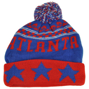 Atlanta Pom Pom Cuffed Three Stars Red Blue City State Town Beanie Knit Georgia