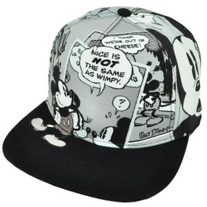 Black White Mickey Mouse Snapback Flat Bill Disney Sublimated Hat Cap Classic