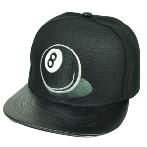 8 Ball Pool Faux Leather Flat Bill Snapback Hat Cap Black Game Playing Adjustable