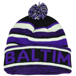 Baltimore Pom Pom Cuffed Toque Purple White City State Town Beanie Knit Striped