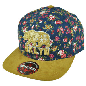 American Needle Brooklyn Flat Bill Strap Back Hat Cap Floral Pattern Bear BKLYN
