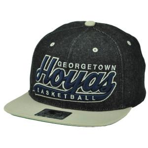 NCAA Starter Georgetown Hoyas Basketball Denim Black Snapback Hat Cap Flat Bill