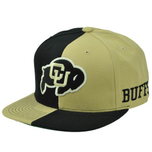 NCAA Starter Colorado Buffaloes Split Black Gold Hat Cap Snapback Flat Bill