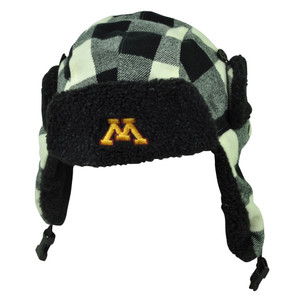 NCAA Minnesota Golden Gopher Ear Flap Aviator Bomber Tassel Hat Fleece Plaid Blk