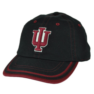NCAA Indiana Hoosiers Black Slouch Relaxed Sun Buckle Hat Cap Adjustable Sport