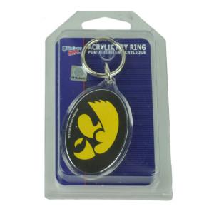 NCAA Iowa Hawkeyes House Work Key Chain Ring Black Yellow Novelty Sport Acrylic
