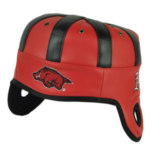 NCAA Arkansas Razorbacks Helmet Head Game Day Faux Leather Red Black Hat Cap