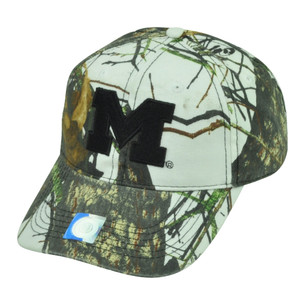 NCAA Michigan Wolverines Camouflage White  Hat Cap Mossy Oak Camo Sport