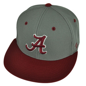 NCAA Alabama Crimson Tide Zephyr Flat Bill Hat Cap Fitted Small Two Tone Grey