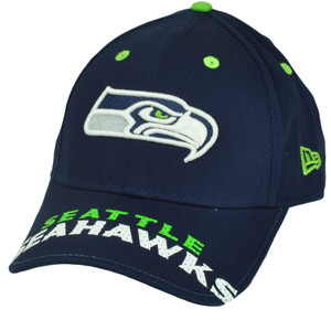 NFL New Era 9Forty 940 Word Pin Seattle Seahawks  Hat Cap OSFA Navy Blue