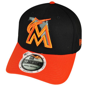 MLB New Era 3930 39thirty Miami Marlins State Flec Curved Bill Black M/L Hat Cap