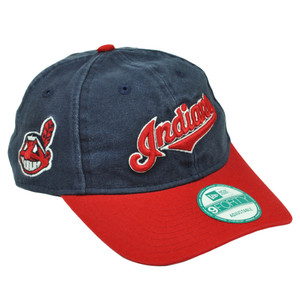MLB New Era 9Forty 940 Team Canvas Clip Buckle Cleveland Indians Hat Cap Blue