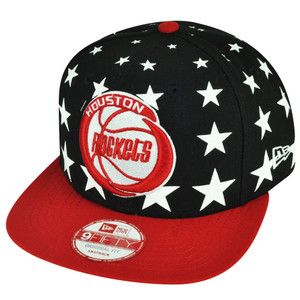 NBA New Era 950 9fifty Houston Rockets Starry Night Stars Black Red Snapback Cap