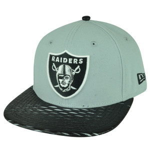NFL New Era 9Fifty 950 Leather Rip Oakland Raiders Snapback Hat Cap Flat Bill
