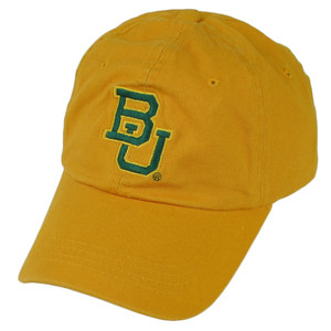 NCAA Baylor Bears Sun Buckle Hat Cap Relaxed Yellow BU Sports Adjustable Slouch