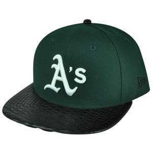 MLB New Era 9Fifty 950 Leather Rip Oakland Athletics Snapback Hat Cap Flat Bill