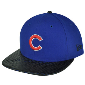 MLB New Era 9Fifty 950 Leather Rip Chicago Cubs Snapback Hat Cap Flat Bill Blue