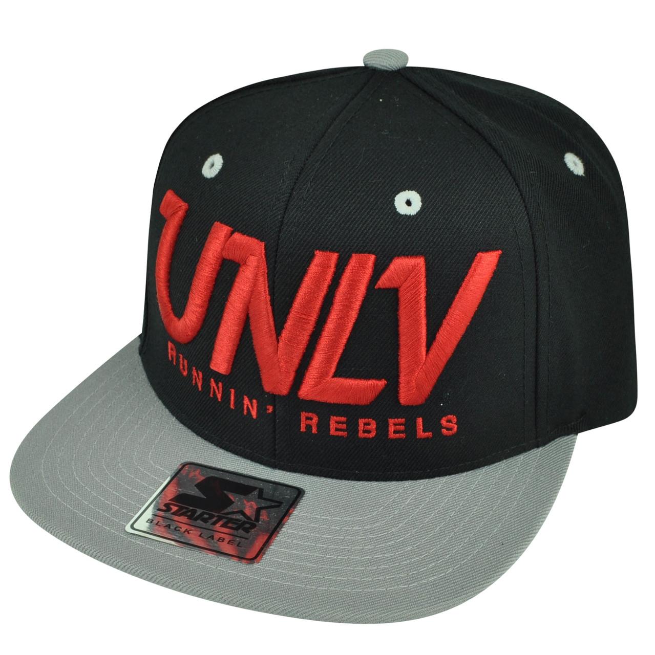 NCAA Starter UNLV Las Vegas Runnin Rebels Black Gold Snapback Flat ... 65243d81a65