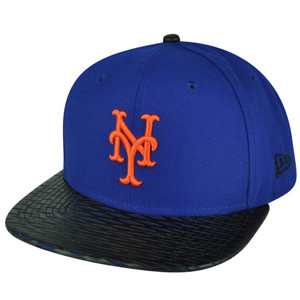 MLB New Era 9Fifty 950 Leather Rip New York Mets Snapback Hat Cap Flat Bill Blue
