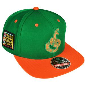 NCAA AACA American Needle Florida A&M Rattlers Green Snapback Blockhead Hat Cap