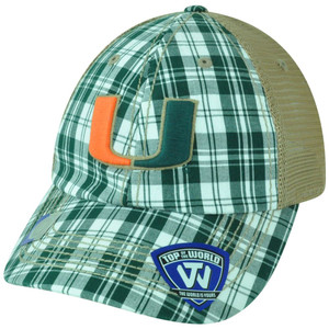 NCAA Miami Hurricanes UM Avery Two Tone Plaid Mesh Trucker Snapback Hat Cap