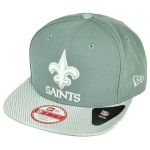 NFL New Era 9Fifty Flash Vize New Orleans Saints Snapback Hat Cap Flat Bill Gray