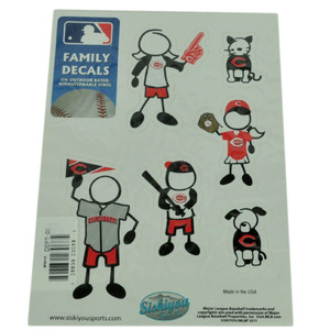 MLB Cincinnati Reds Family Decal Set Car Fan Repositionable Vinyl Automobile