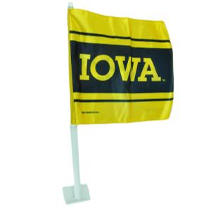 NCAA Iowa Hawkeyes 1 Car Window Flag Tailgate Game Day Sport Fan Yellow Black