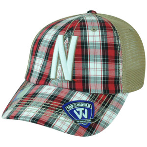 NCAA Nebraska Cornhuskers Avery Two Tone Plaid Mesh Trucker Snapback Hat Cap