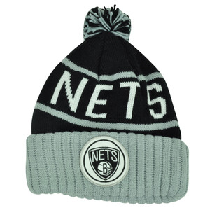 NBA Mitchell Ness KJ58 Brooklyn Nets Cuffed Pom Pom Knit Beanie Skully Hat Grey