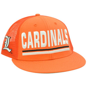 NCAA Louisville Cardinals Cards Mesh Snapback Flat Bill Trucker Orange Hat Cap