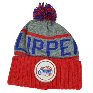 NBA Mitchell Ness KJ58 Los Angeles Clippers Cuffed Pom Pom Knit Beanie Skully Hat