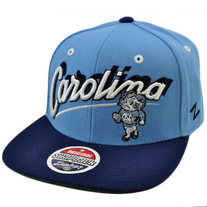 NCAA Carolina Tar Heels UNC Flat Bill Snapback Zephyr Light Blue Navy Hat Cap